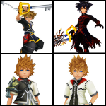 Clockwise from the top left: Sora, Vanitas, Roxas, and Ventus. Can we come up with a new design already?